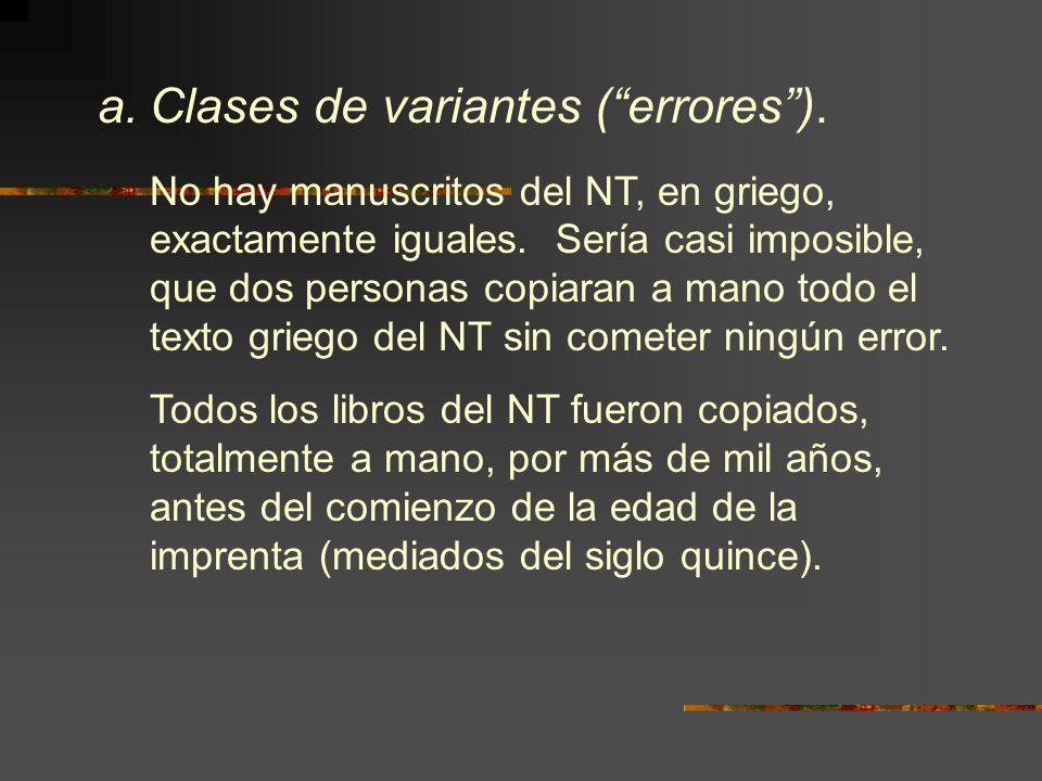 Clases de variantes ( errores ).