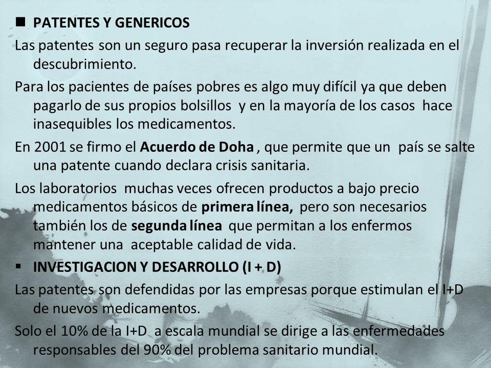 PATENTES Y GENERICOS Las patentes son un seguro pasa recuperar la inversión realizada en el descubrimiento.