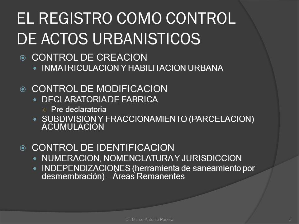 EL REGISTRO COMO CONTROL DE ACTOS URBANISTICOS
