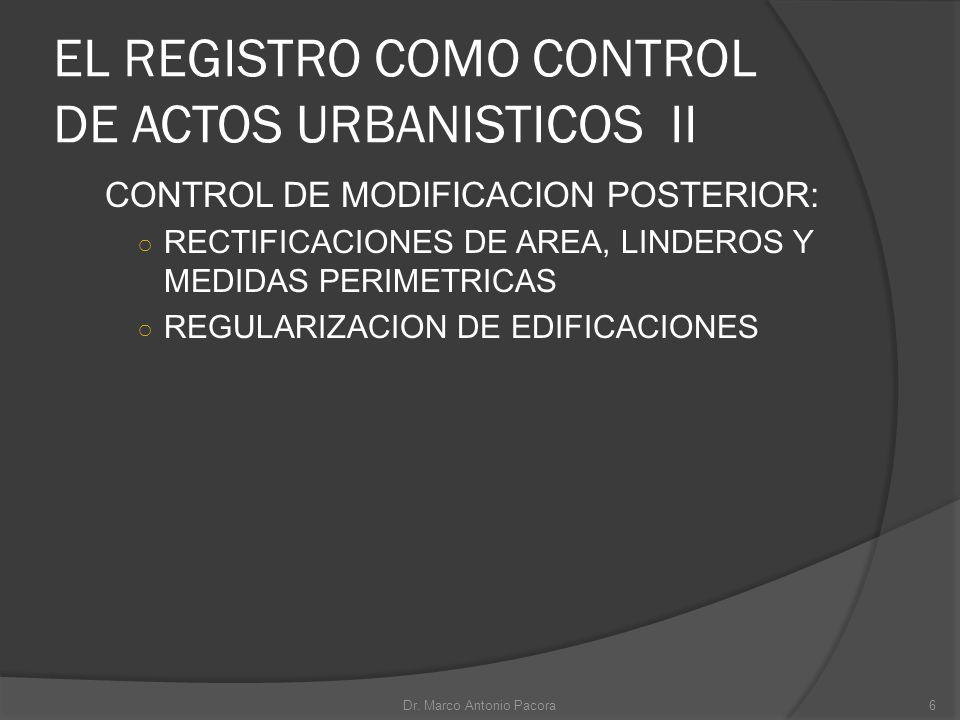 EL REGISTRO COMO CONTROL DE ACTOS URBANISTICOS II