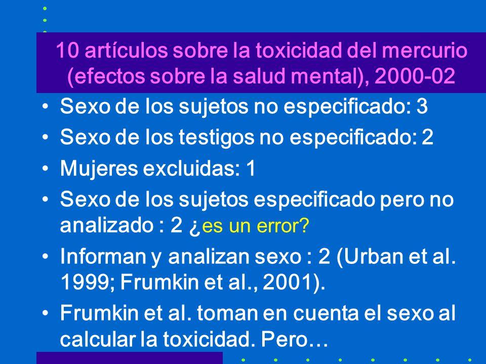 10 artículos sobre la toxicidad del mercurio (efectos sobre la salud mental), 2000-02