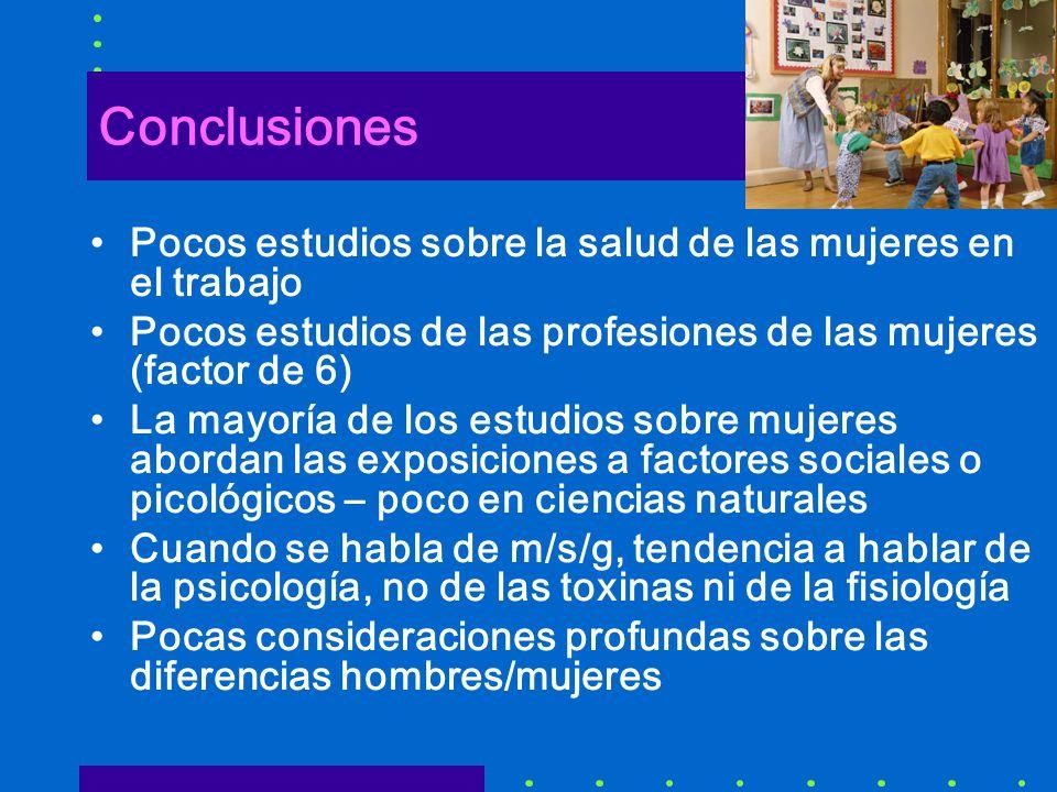 Conclusiones Pocos estudios sobre la salud de las mujeres en el trabajo. Pocos estudios de las profesiones de las mujeres (factor de 6)