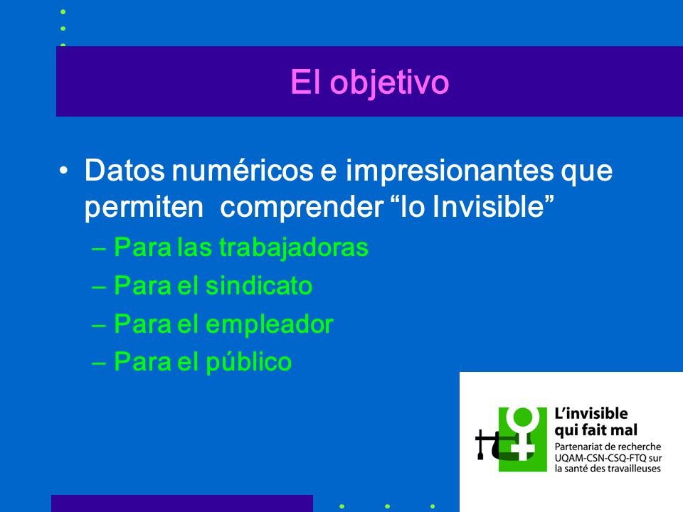 El objetivo Datos numéricos e impresionantes que permiten comprender lo Invisible Para las trabajadoras.