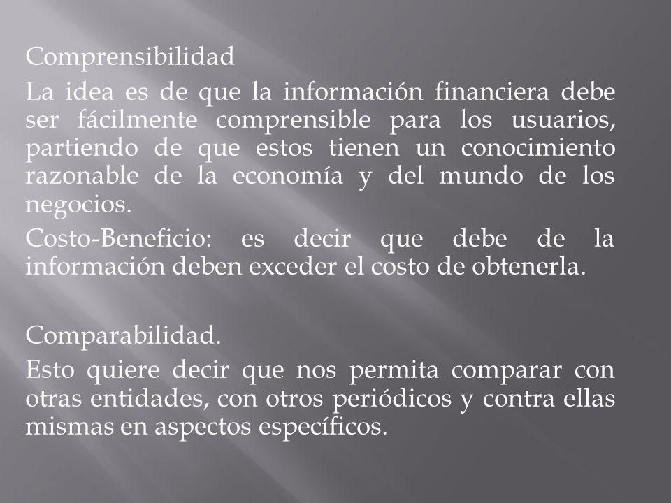 Comprensibilidad La idea es de que la información financiera debe ser fácilmente comprensible para los usuarios, partiendo de que estos tienen un conocimiento razonable de la economía y del mundo de los negocios.
