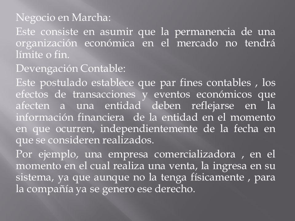 Negocio en Marcha: Este consiste en asumir que la permanencia de una organización económica en el mercado no tendrá límite o fin.