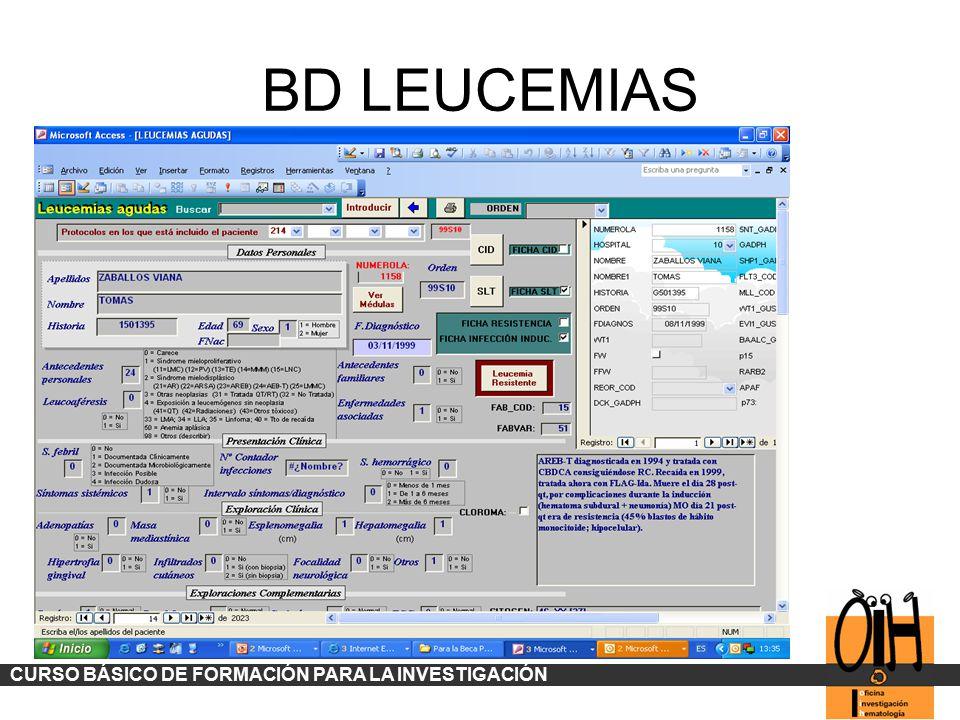 BD LEUCEMIAS CURSO BÁSICO DE FORMACIÓN PARA LA INVESTIGACIÓN