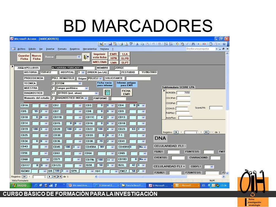 BD MARCADORES CURSO BÁSICO DE FORMACIÓN PARA LA INVESTIGACIÓN
