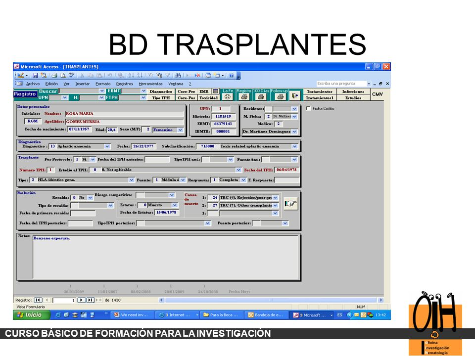 BD TRASPLANTES CURSO BÁSICO DE FORMACIÓN PARA LA INVESTIGACIÓN