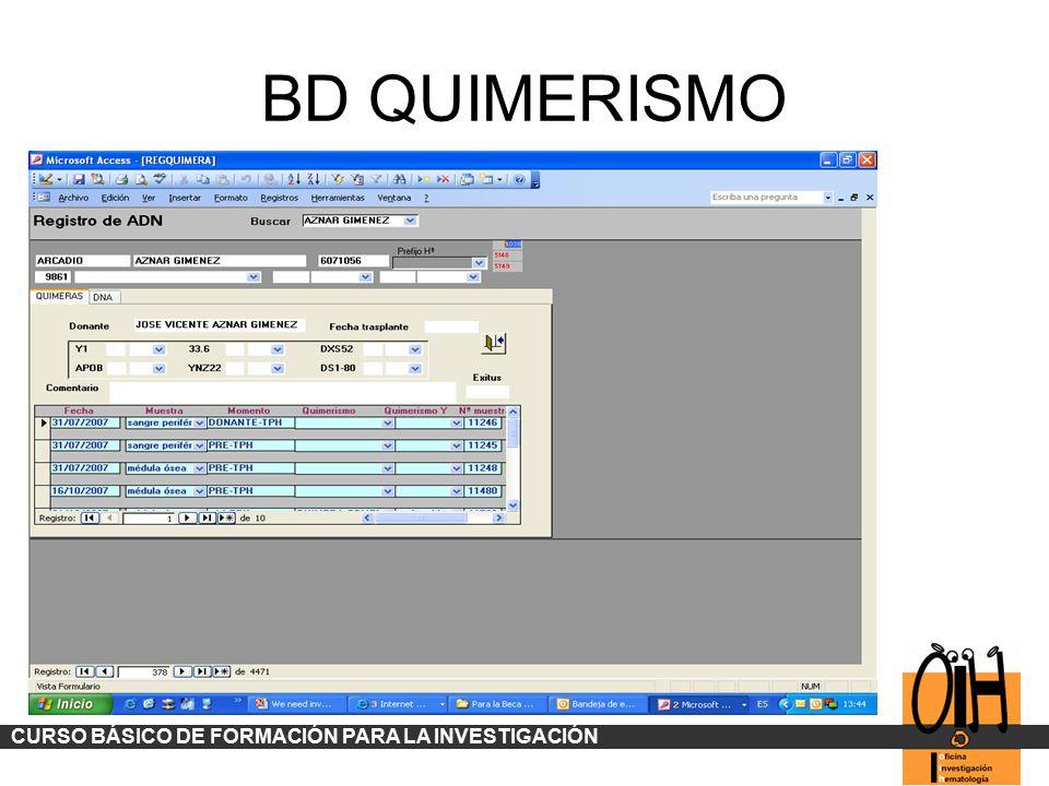 BD QUIMERISMO CURSO BÁSICO DE FORMACIÓN PARA LA INVESTIGACIÓN