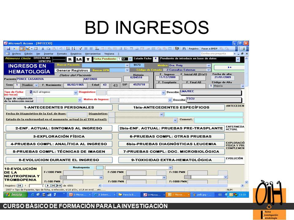 BD INGRESOS CURSO BÁSICO DE FORMACIÓN PARA LA INVESTIGACIÓN