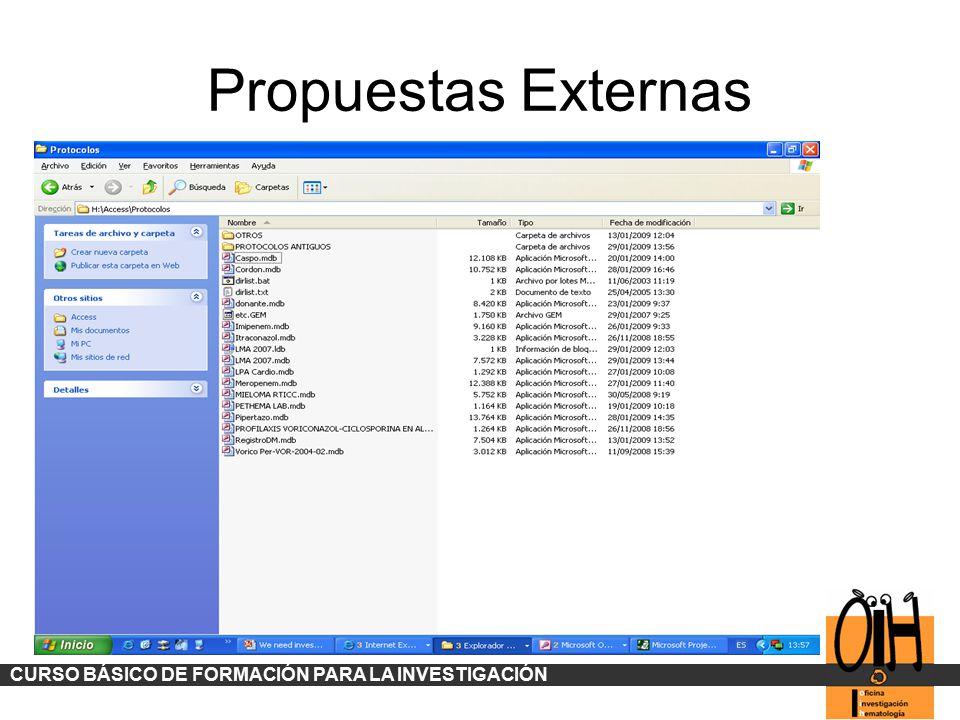 Propuestas Externas CURSO BÁSICO DE FORMACIÓN PARA LA INVESTIGACIÓN