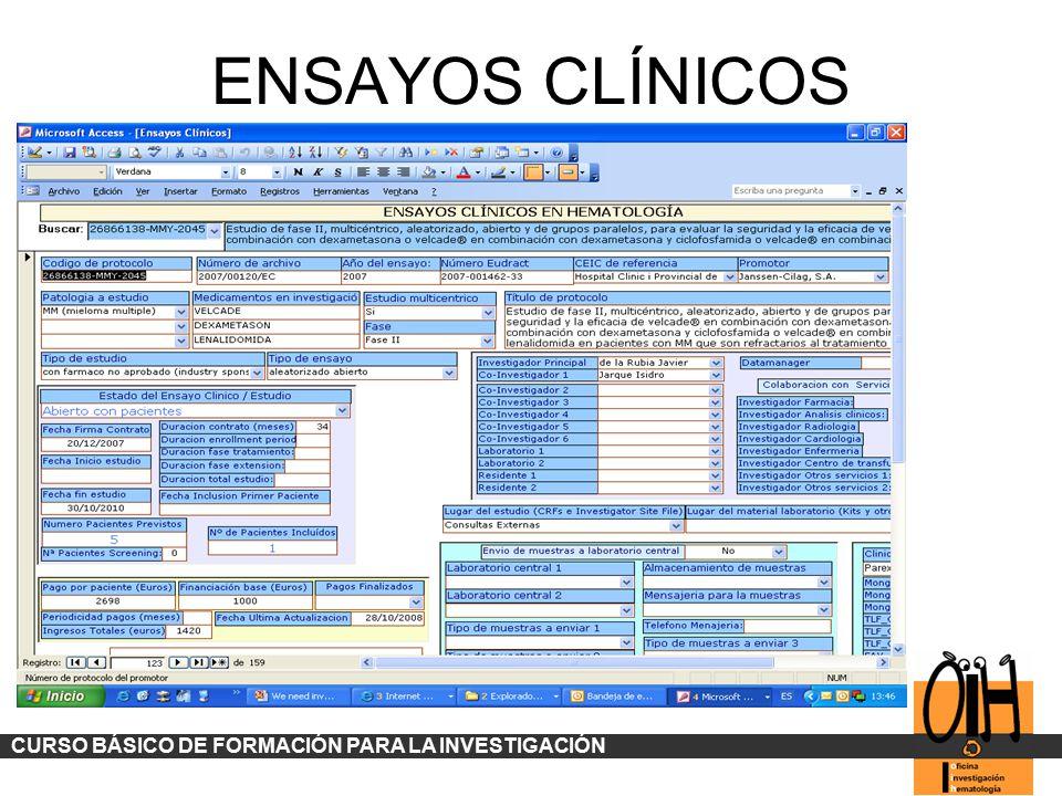 ENSAYOS CLÍNICOS CURSO BÁSICO DE FORMACIÓN PARA LA INVESTIGACIÓN
