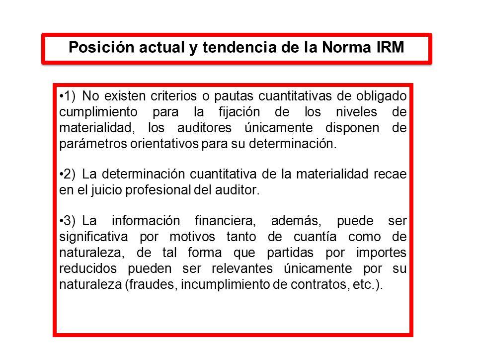 Posición actual y tendencia de la Norma IRM