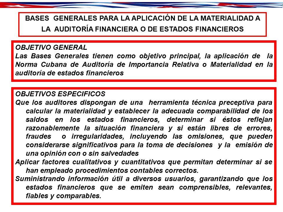 BASES GENERALES PARA LA APLICACIÓN DE LA MATERIALIDAD A LA AUDITORÍA FINANCIERA O DE ESTADOS FINANCIEROS