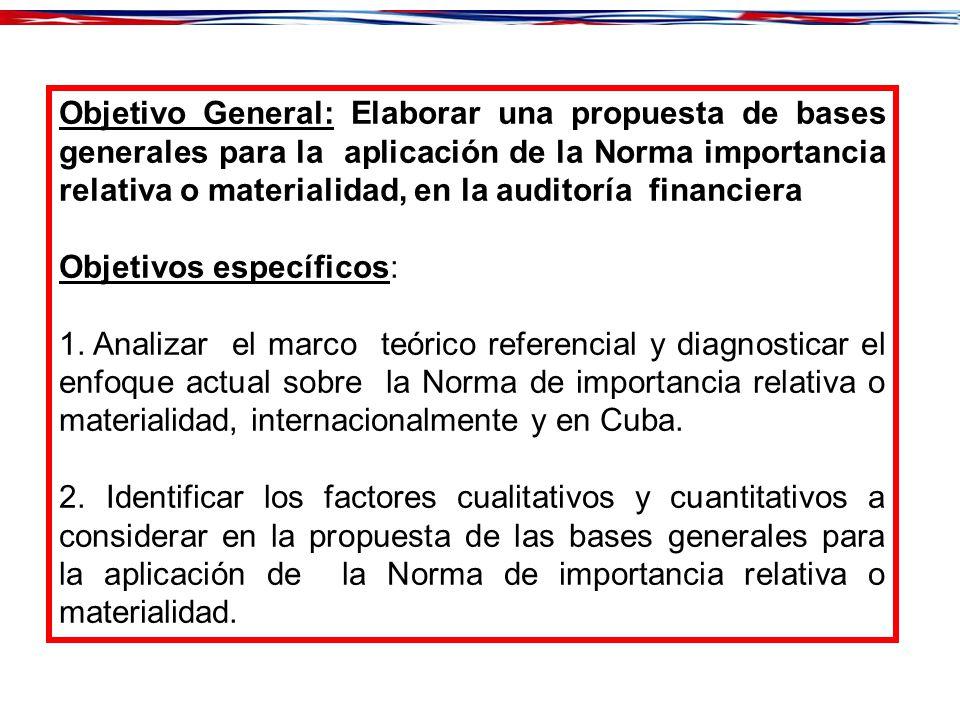 Objetivo General: Elaborar una propuesta de bases generales para la aplicación de la Norma importancia relativa o materialidad, en la auditoría financiera