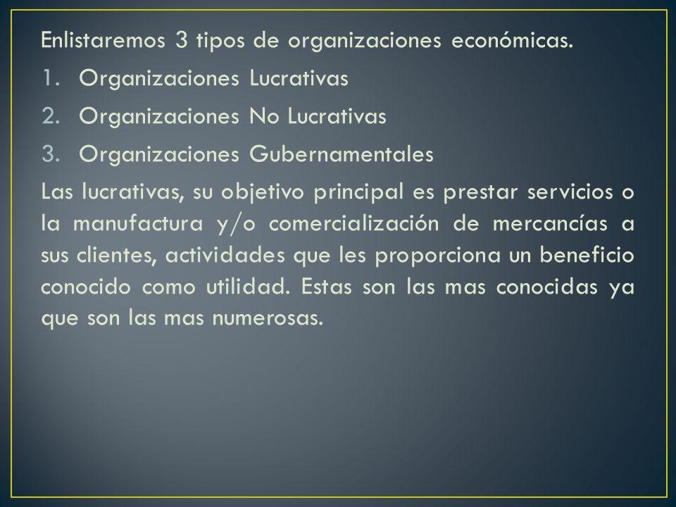 Enlistaremos 3 tipos de organizaciones económicas.