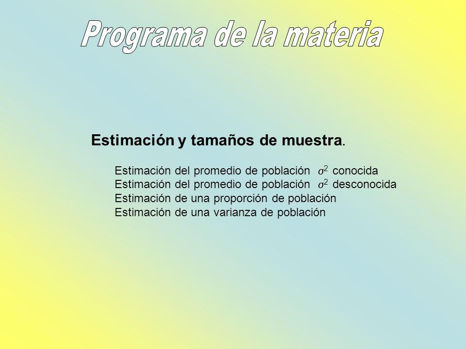 Programa de la materia Estimación y tamaños de muestra.