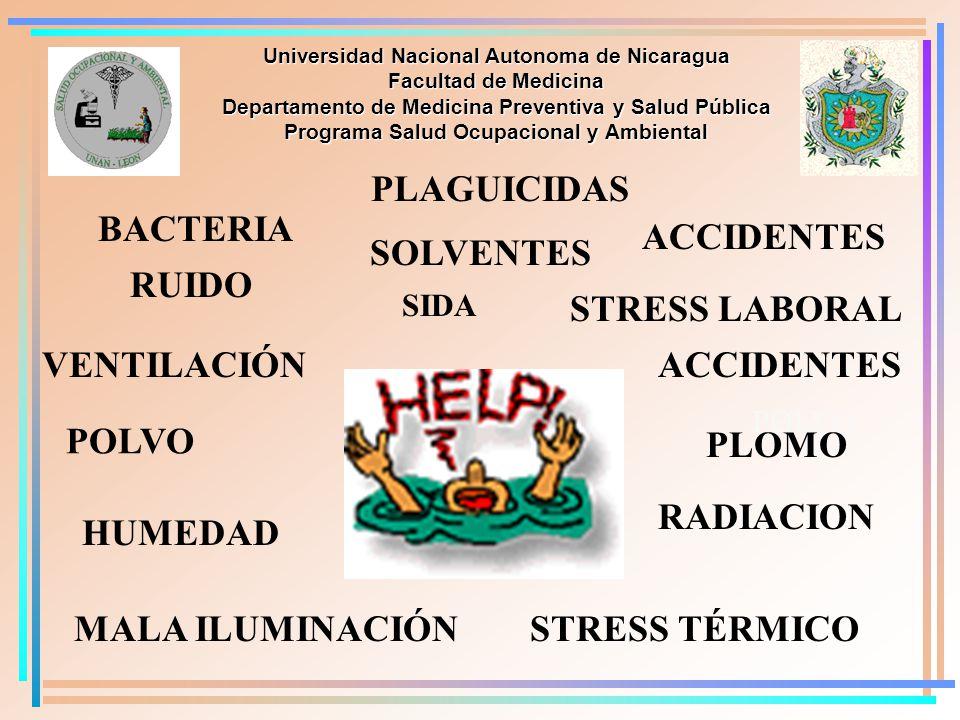 PLAGUICIDAS BACTERIA ACCIDENTES SOLVENTES RUIDO STRESS LABORAL