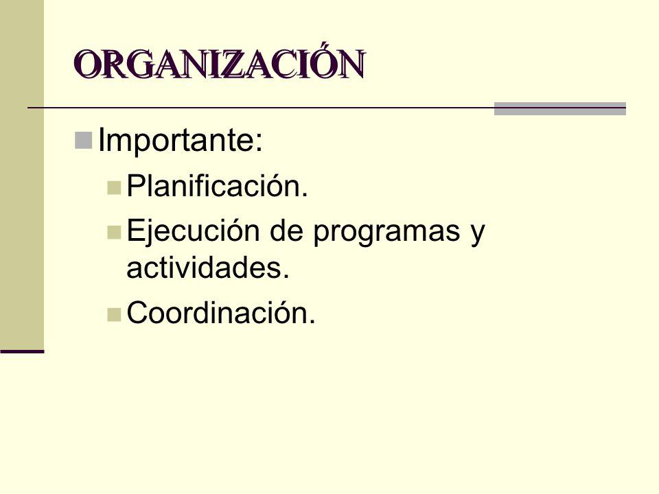 ORGANIZACIÓN Importante: Planificación.