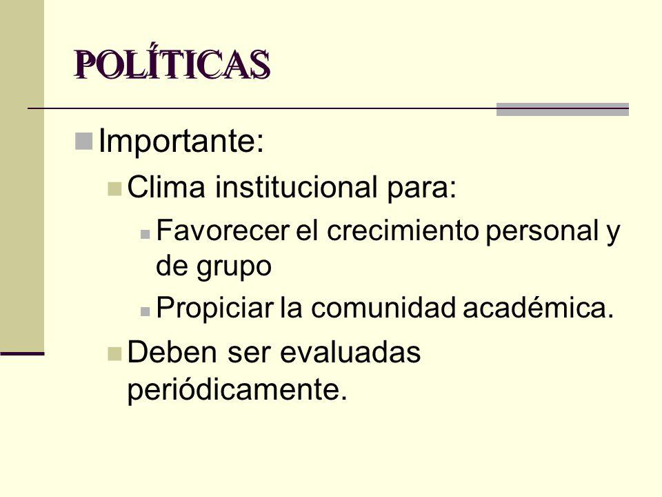 POLÍTICAS Importante: Clima institucional para: