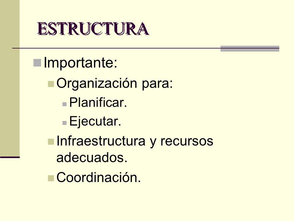 ESTRUCTURA Importante: Organización para: