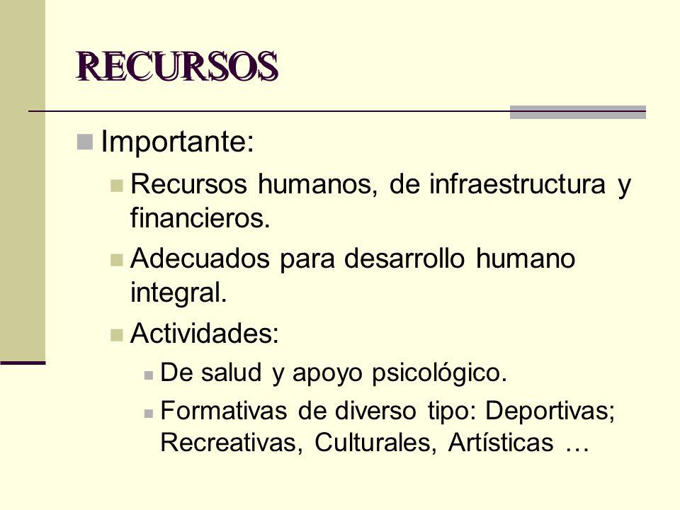 RECURSOS Importante: Recursos humanos, de infraestructura y financieros. Adecuados para desarrollo humano integral.