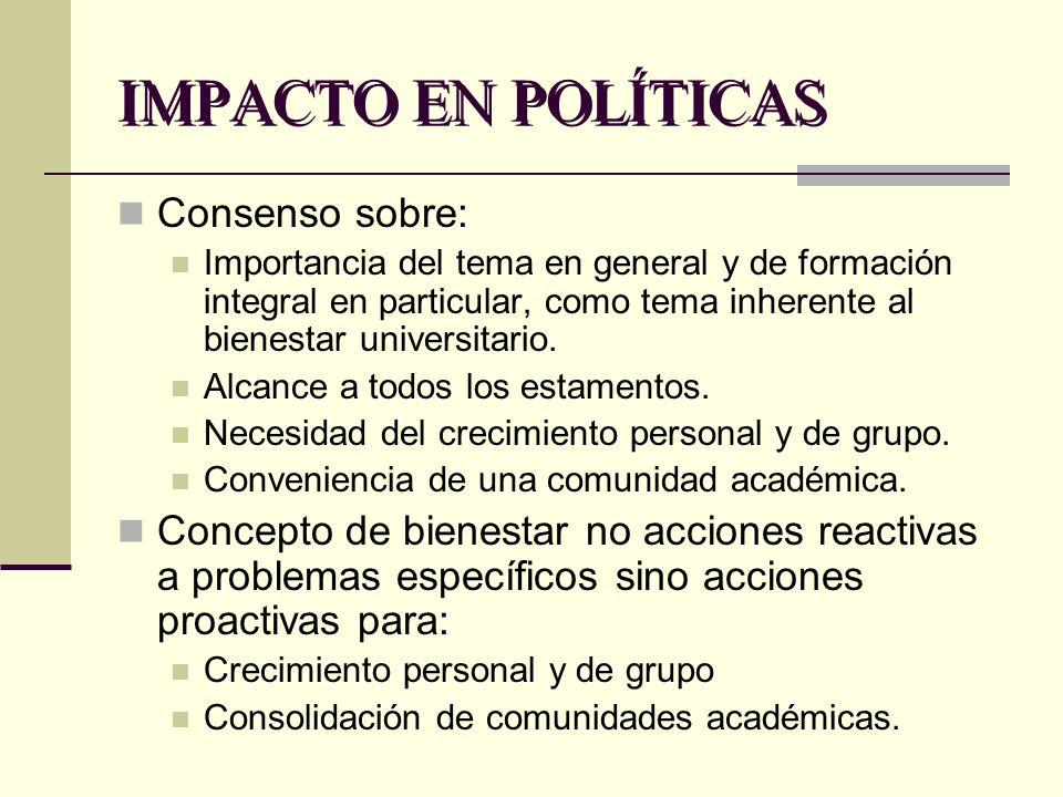 IMPACTO EN POLÍTICAS Consenso sobre: