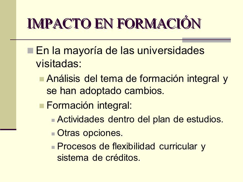 IMPACTO EN FORMACIÓN En la mayoría de las universidades visitadas: