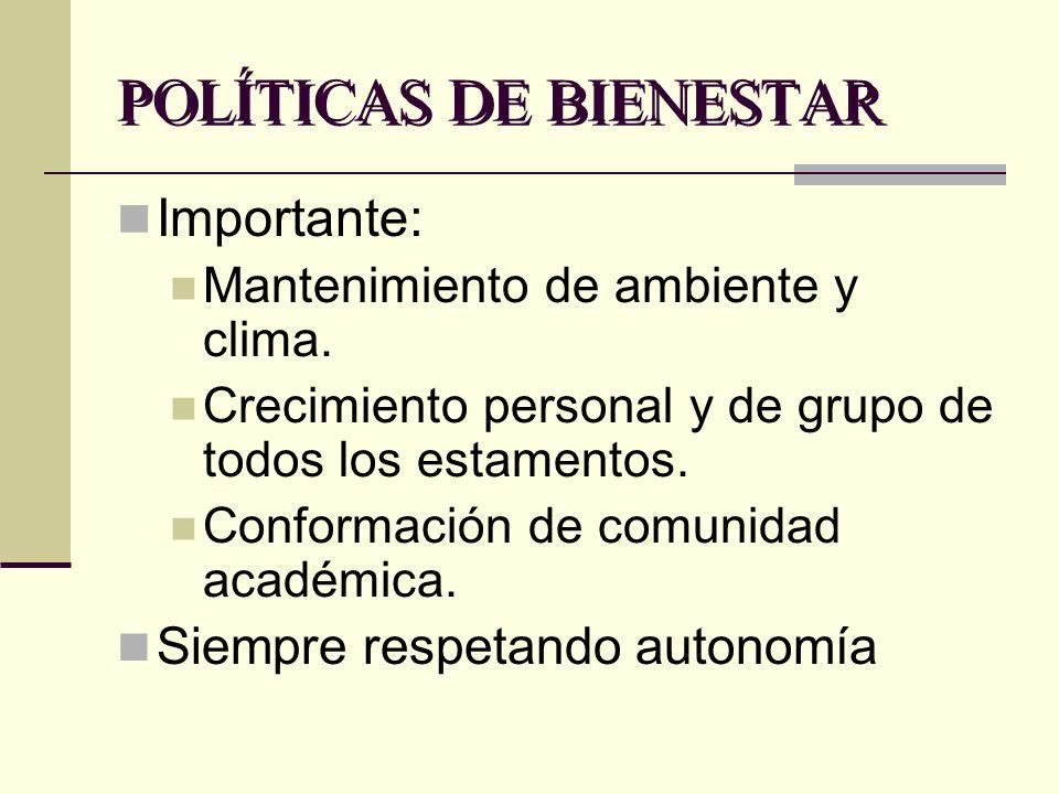 POLÍTICAS DE BIENESTAR