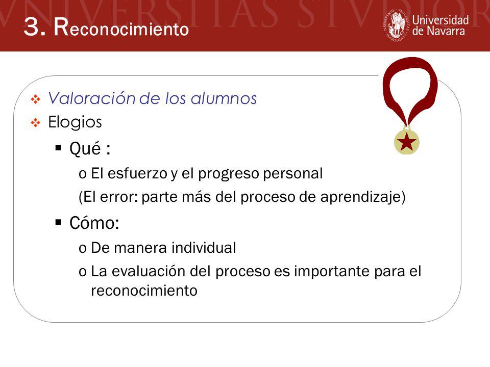 3. Reconocimiento Qué : Cómo: Valoración de los alumnos Elogios