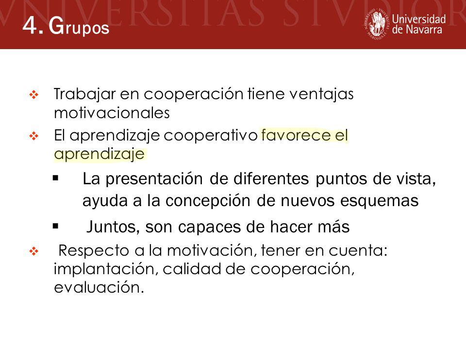 4. Grupos Trabajar en cooperación tiene ventajas motivacionales. El aprendizaje cooperativo favorece el aprendizaje.