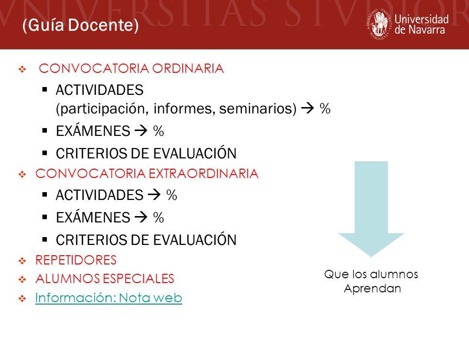 (Guía Docente) ACTIVIDADES (participación, informes, seminarios)  %