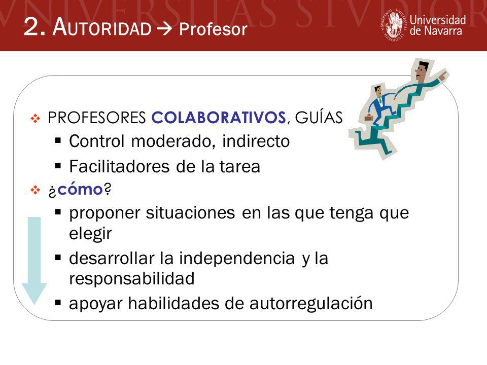 2. AUTORIDAD  Profesor Control moderado, indirecto
