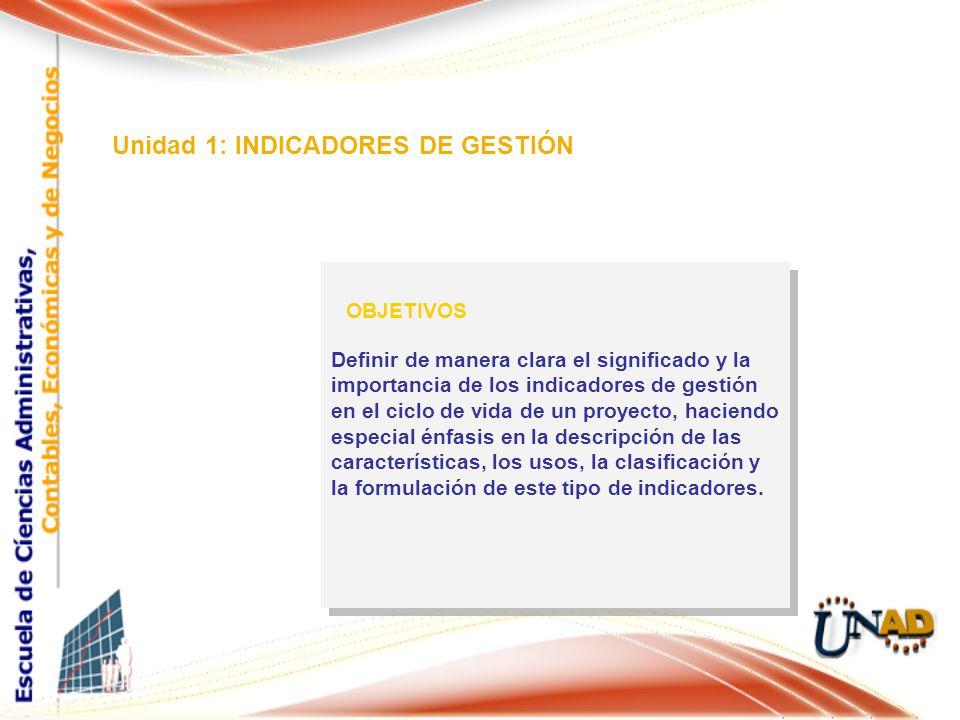 Unidad 1: INDICADORES DE GESTIÓN