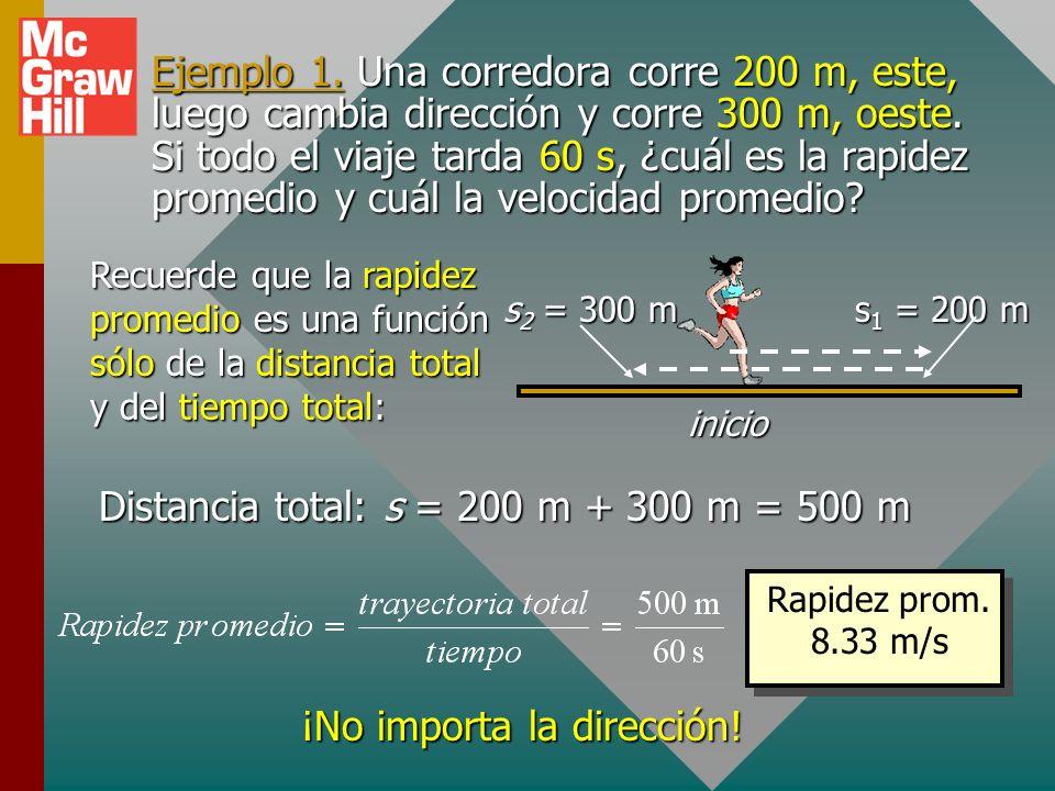 Distancia total: s = 200 m + 300 m = 500 m