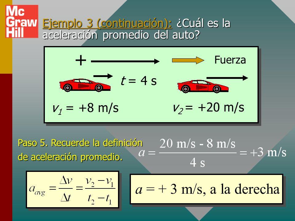 Ejemplo 3 (continuación): ¿Cuál es la aceleración promedio del auto