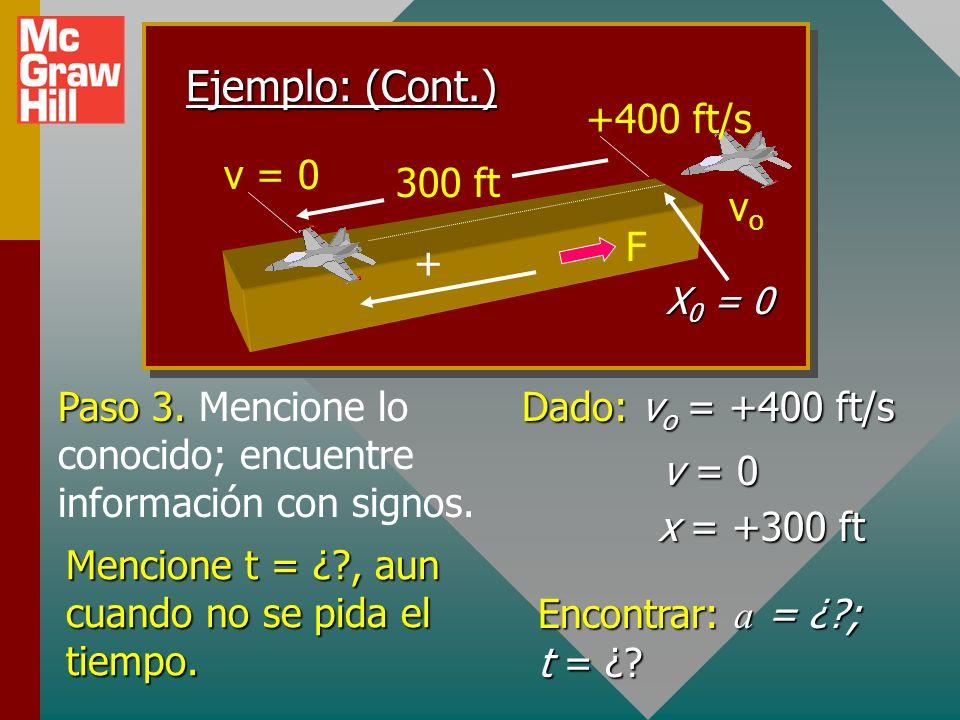 Ejemplo: (Cont.) 300 ft +400 ft/s vo v = 0 + F