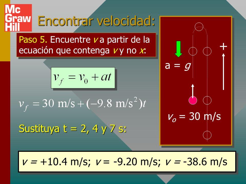 Encontrar velocidad: + a = g vo = 30 m/s Sustituya t = 2, 4 y 7 s: