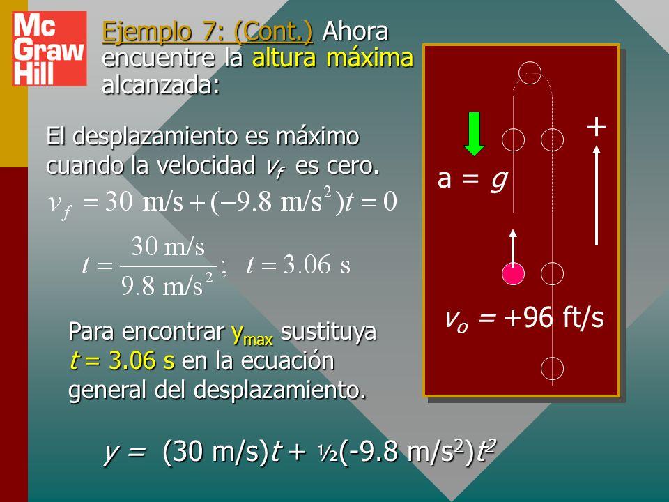 Ejemplo 7: (Cont.) Ahora encuentre la altura máxima alcanzada: