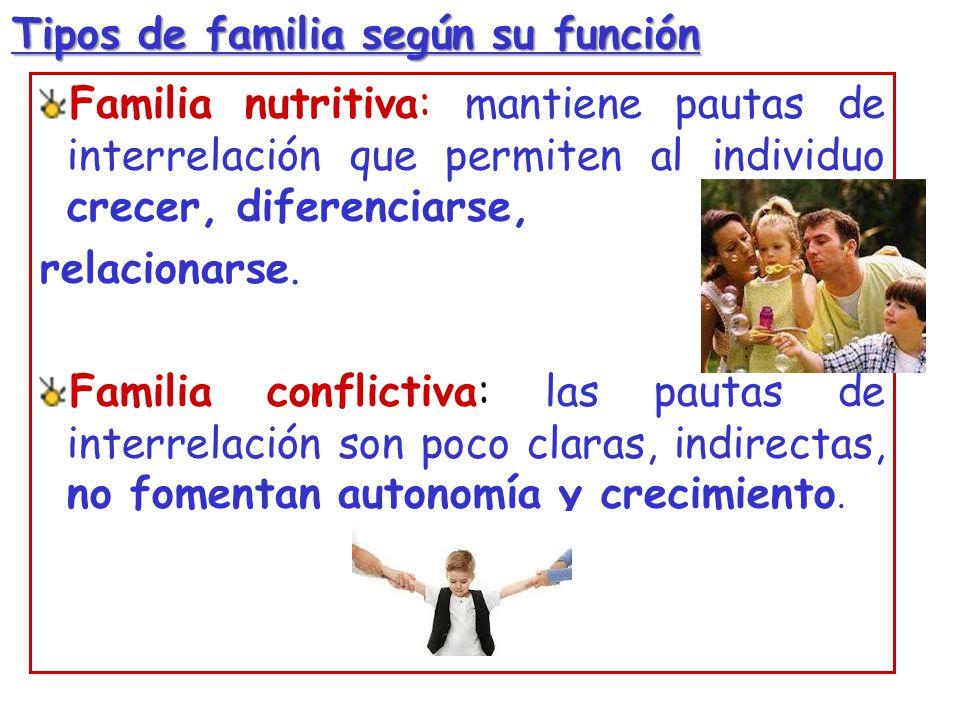 Tipos de familia según su función