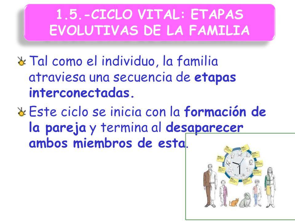 1.5.-CICLO VITAL: ETAPAS EVOLUTIVAS DE LA FAMILIA