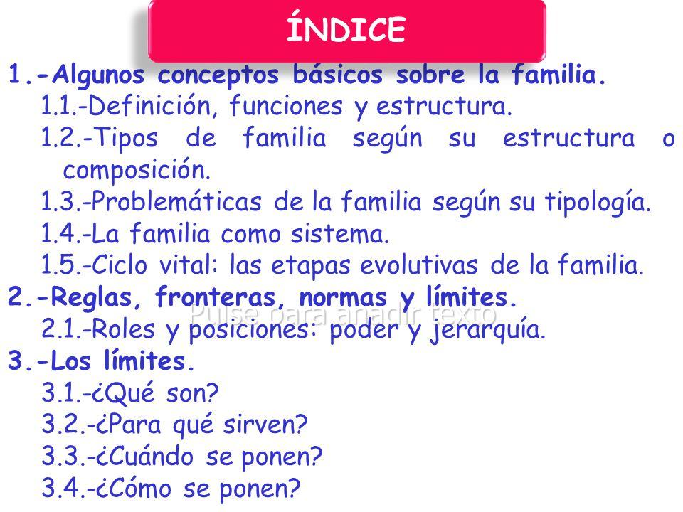 ÍNDICE 1.-Algunos conceptos básicos sobre la familia.