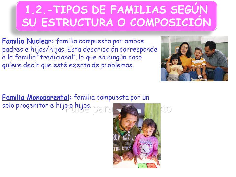 1.2.-TIPOS DE FAMILIAS SEGÚN SU ESTRUCTURA O COMPOSICIÓN