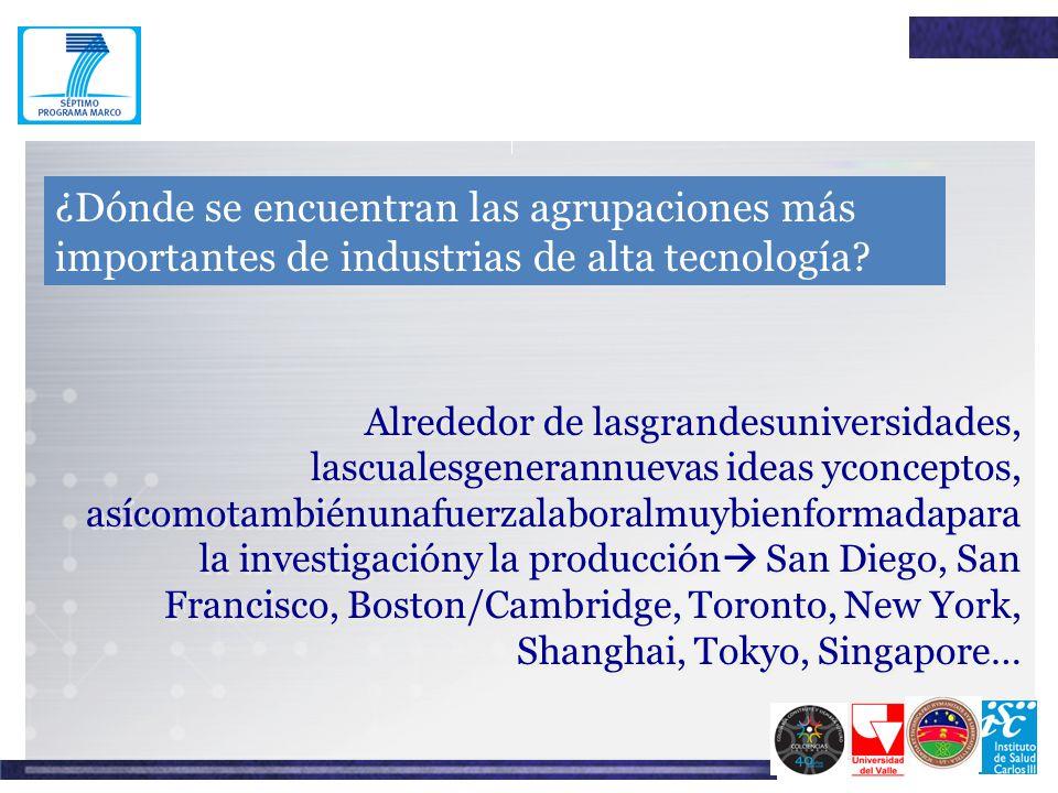 ¿Dónde se encuentran las agrupaciones más importantes de industrias de alta tecnología