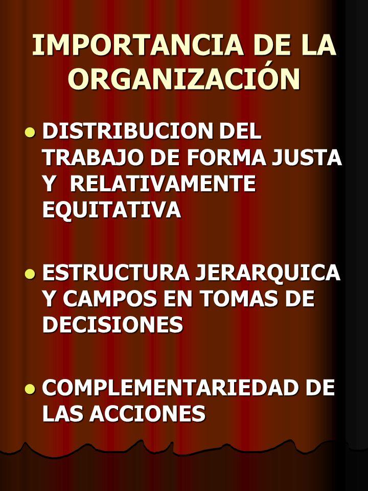 IMPORTANCIA DE LA ORGANIZACIÓN