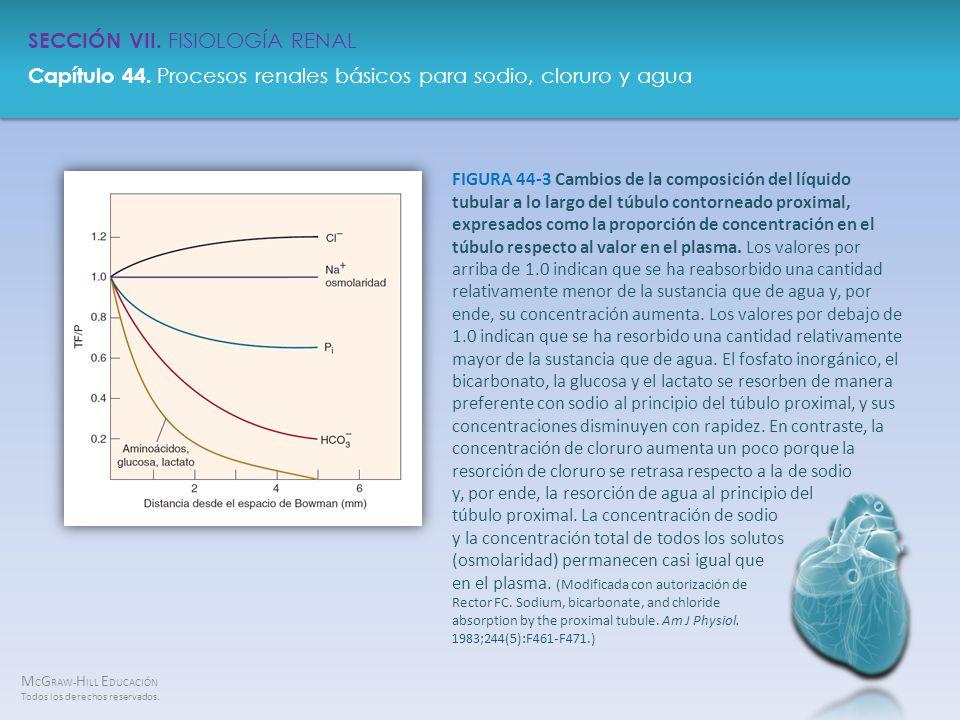 FIGURA 44-3 Cambios de la composición del líquido tubular a lo largo del túbulo contorneado proximal, expresados como la proporción de concentración en el túbulo respecto al valor en el plasma.