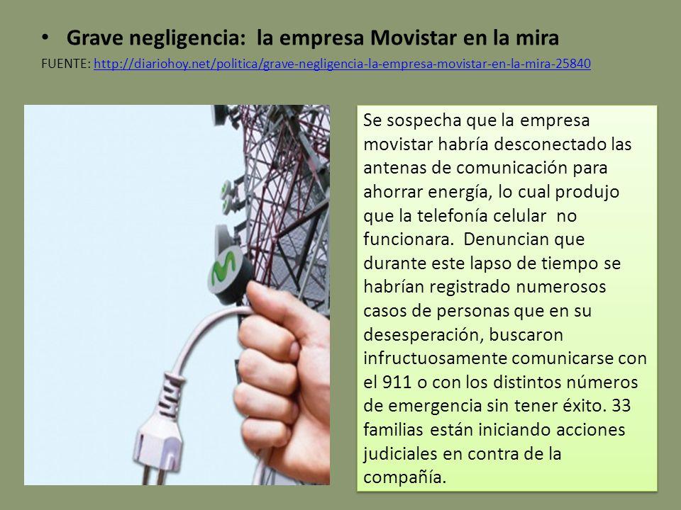 Grave negligencia: la empresa Movistar en la mira