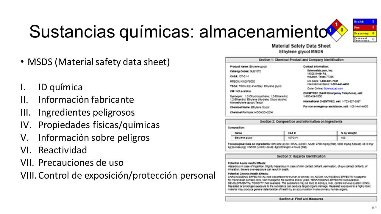 Sustancias químicas: almacenamiento