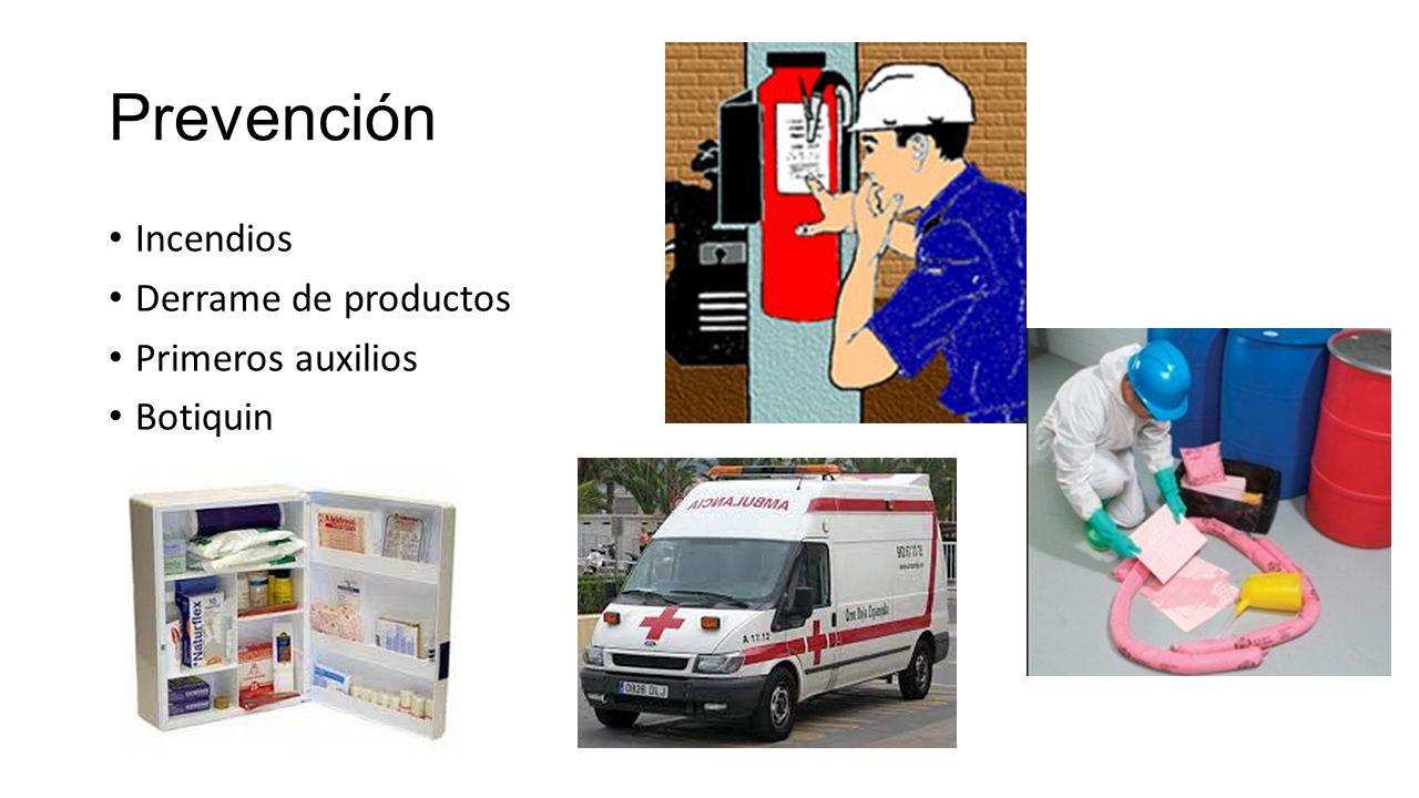 Prevención Incendios Derrame de productos Primeros auxilios Botiquin