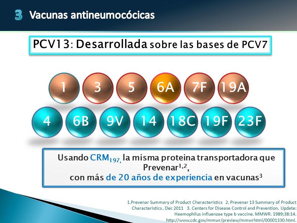PCV13: Desarrollada sobre las bases de PCV7